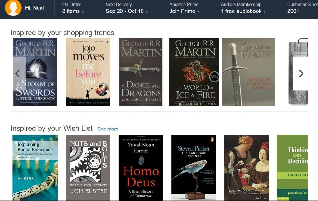 Image of dynamic content example from Amazon.com