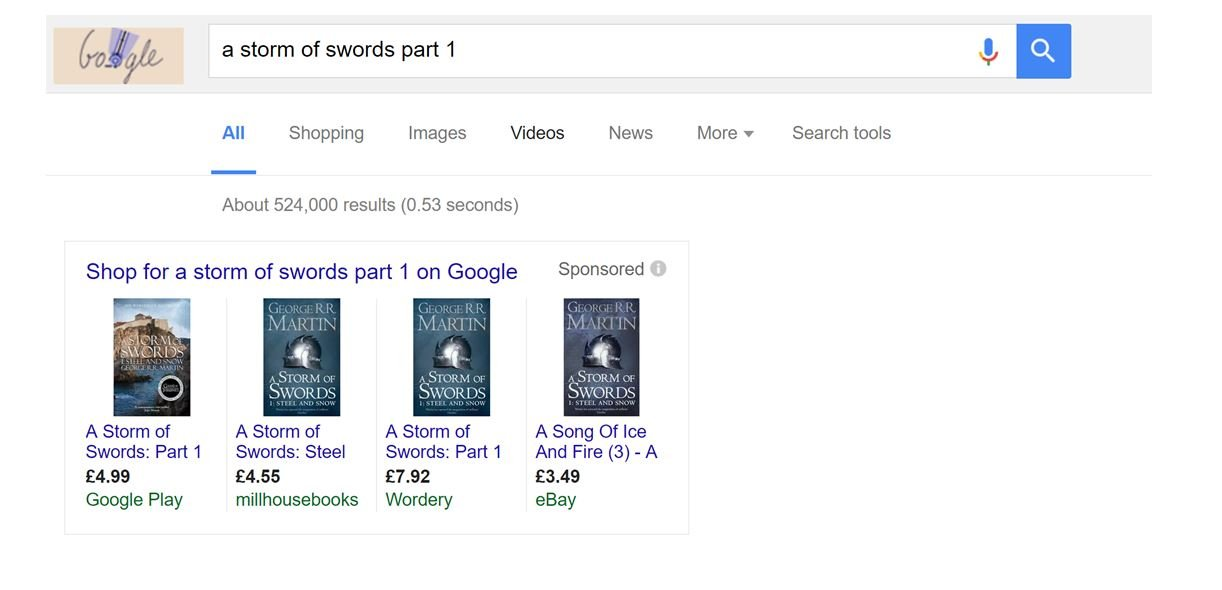 Image of Google search result with exact match PPC ad