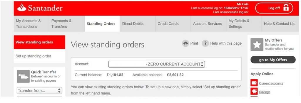 Image of Santander.co.uk site with poor affordance caused by flat design