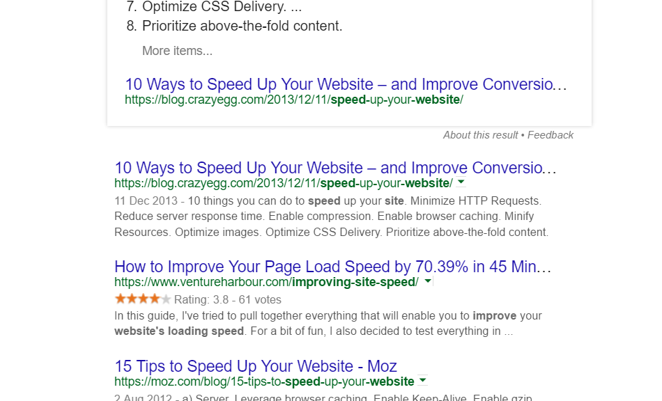 Image of Google search engine results pages