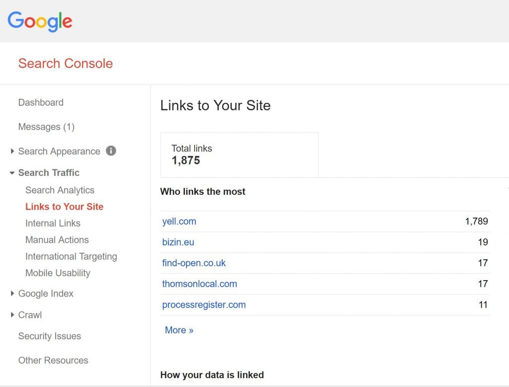 Image of Google Search Console showing links to your site