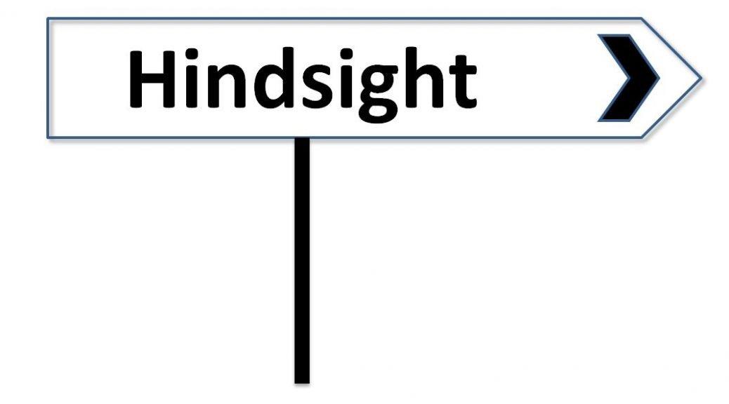 """Image of road sign with the word """"Hindsight"""""""
