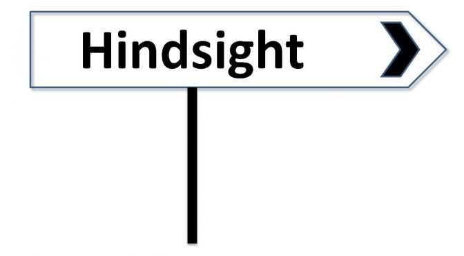 "Image of road sign with the word ""Hindsight"""