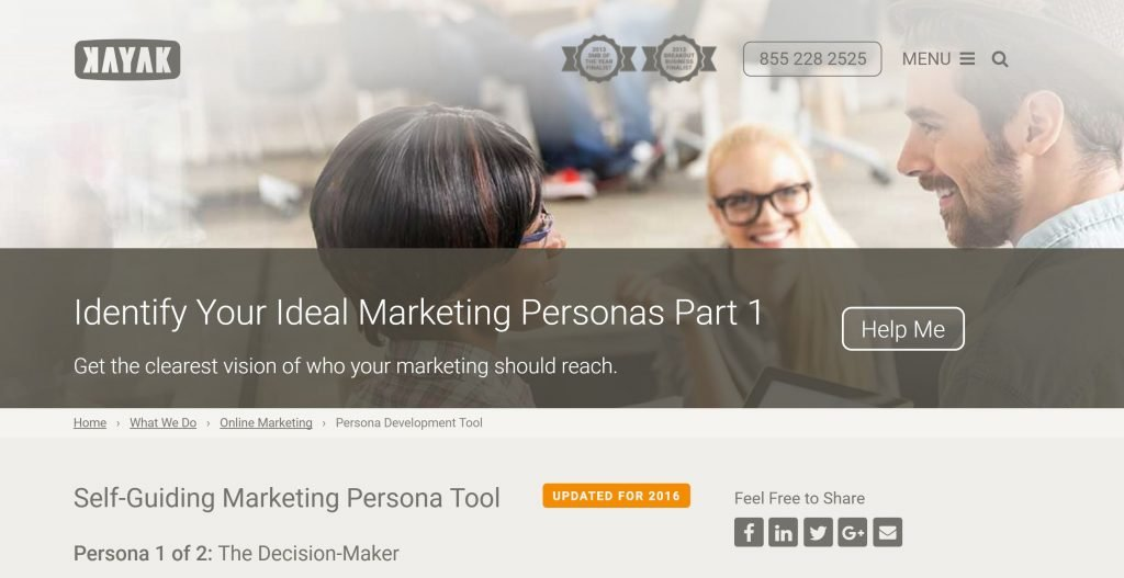 Image of Kayak.com buyer persona creator