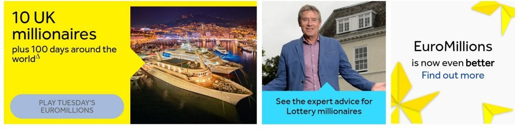 Image of National Lottery homepage for availability bias