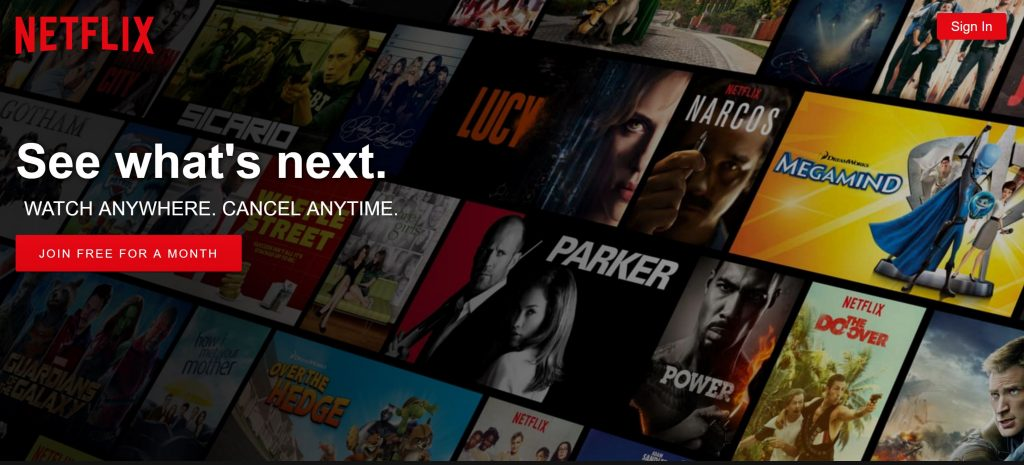 Image of Netflix.com free trial offer landing page