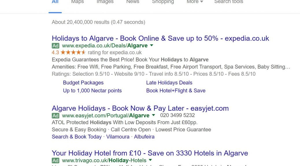 Image of PPC ads on Google for holidays in Algarve