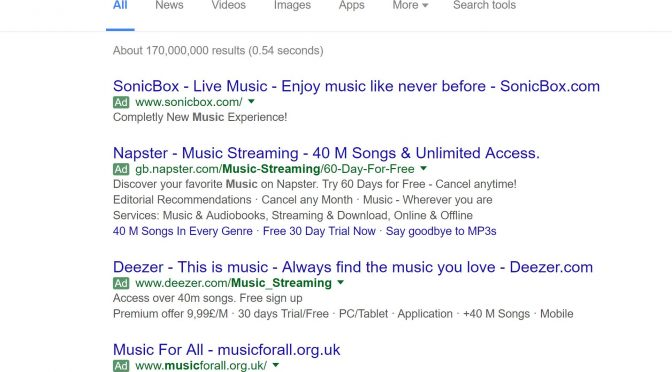 Image of PPC ads on Google for music streaming