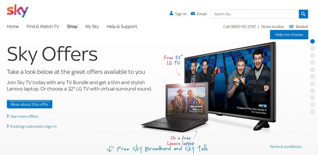 Image of Sky Broadband homepage which uses a directional cue