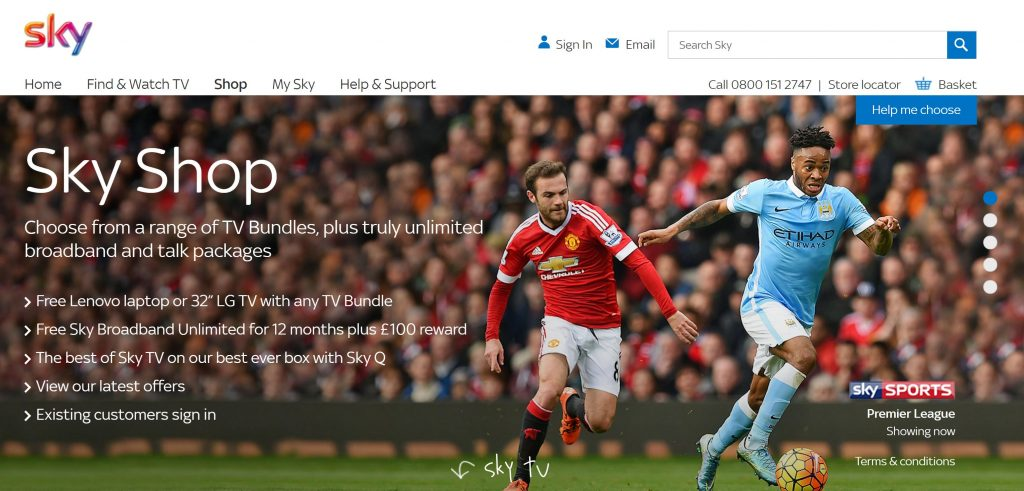 Image of Skytv homepage uses directional cue