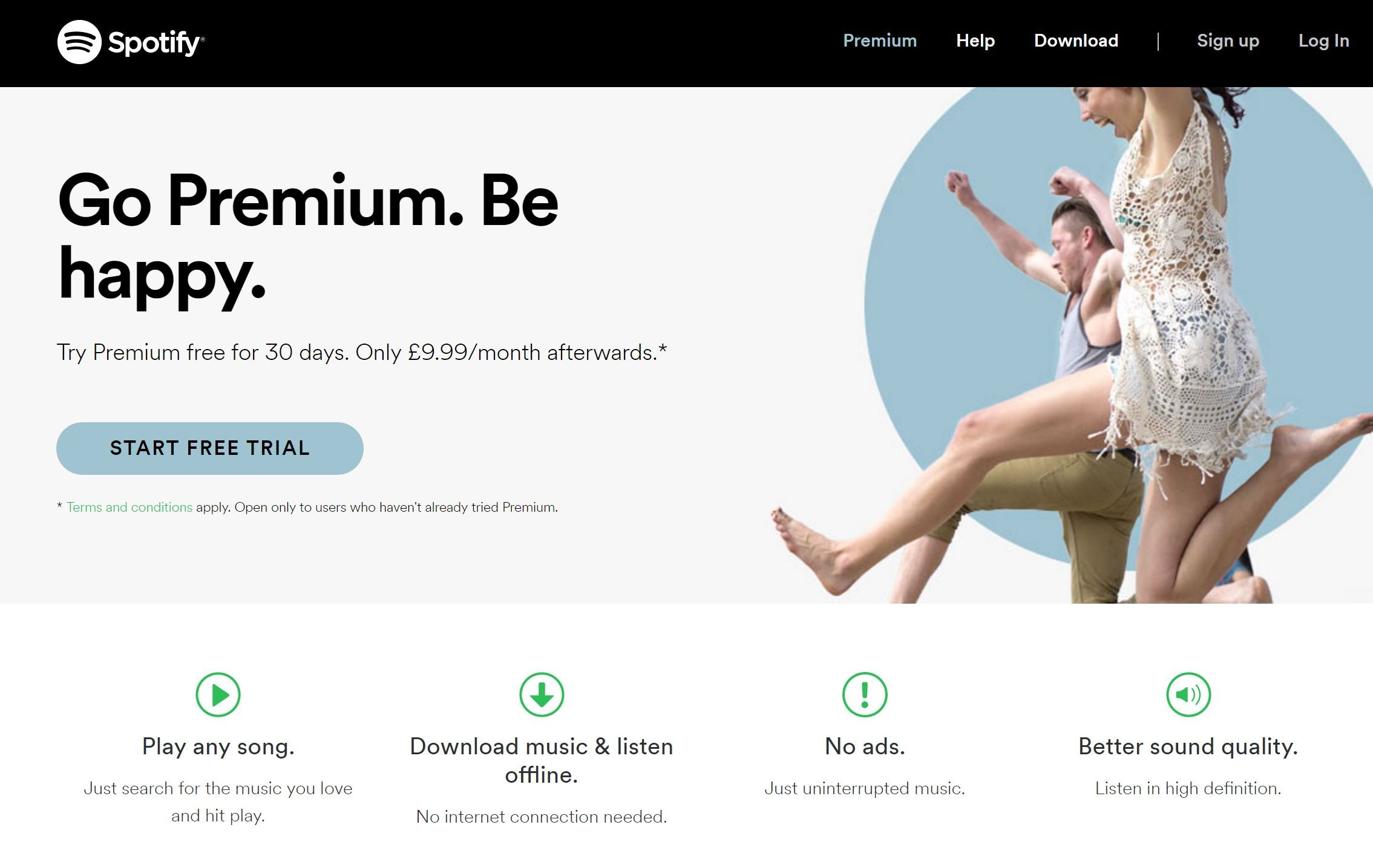 Image of Spotify.com landing page with free trial offer