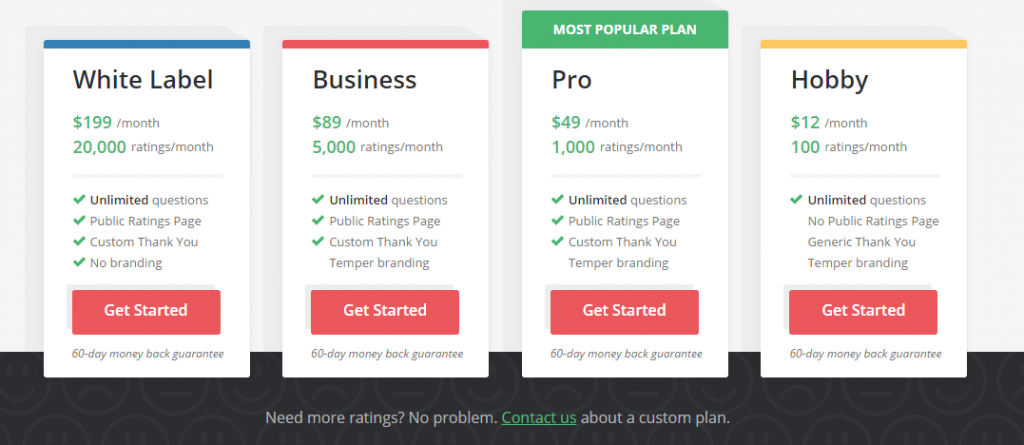 Image of pricing plans for Temper.io