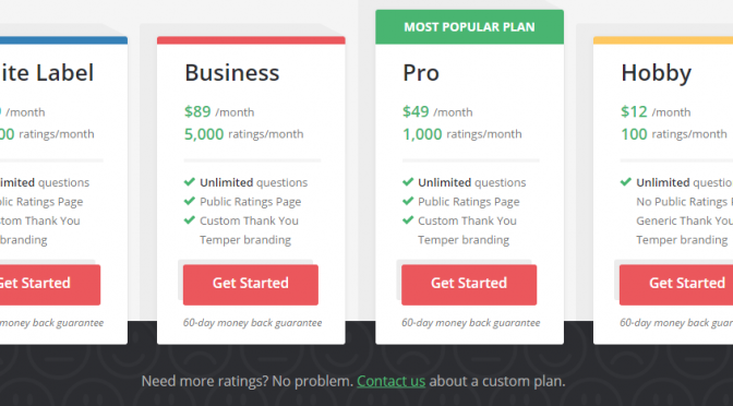 Image of Temper.io pricing page with the highest plan shown from left to right