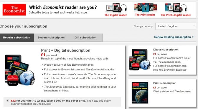 Image of The Economist.com subscriptions plans