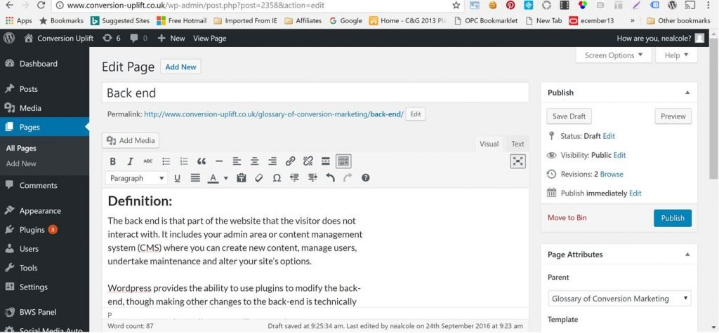 Image of WordPress back end for creating a new page
