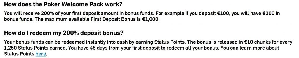 Image of poker deposit bonus terms and conditions from Betfair.com