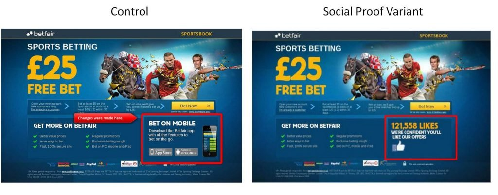 Image of Betfair landing page A/B test