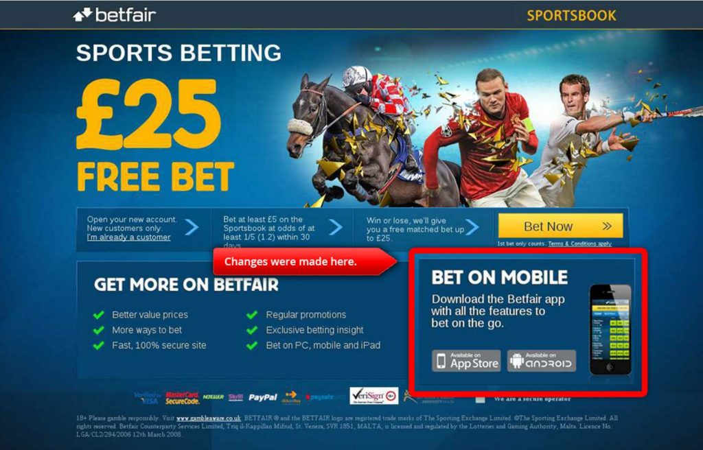 Image of Betfair landing page control variant
