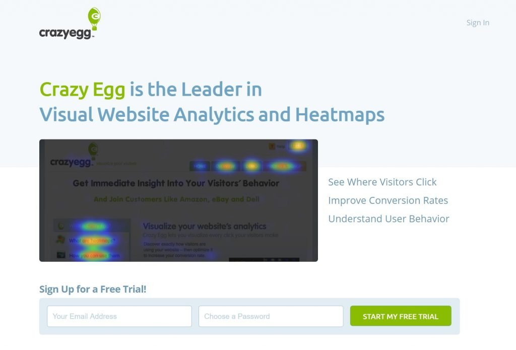 Image of crazyegg.com squeeze page