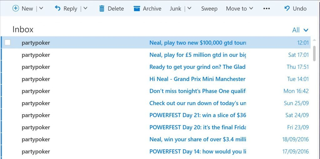 Image of 10 emails in 15 days from partypoker.com