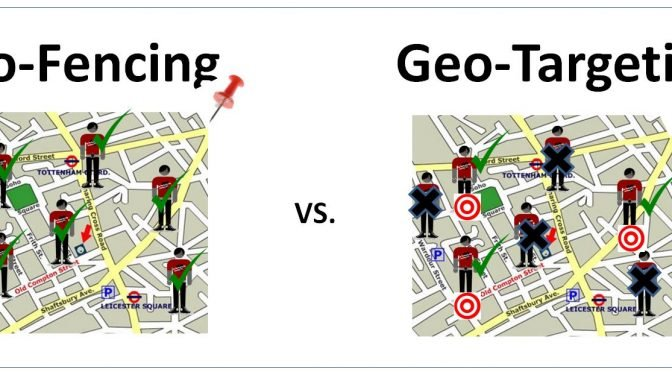 Image demonstrating the difference between geo-fencing and geo-targeting