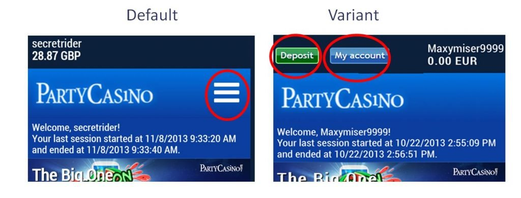 Image of A/B test of hamburger icon for logged in customers