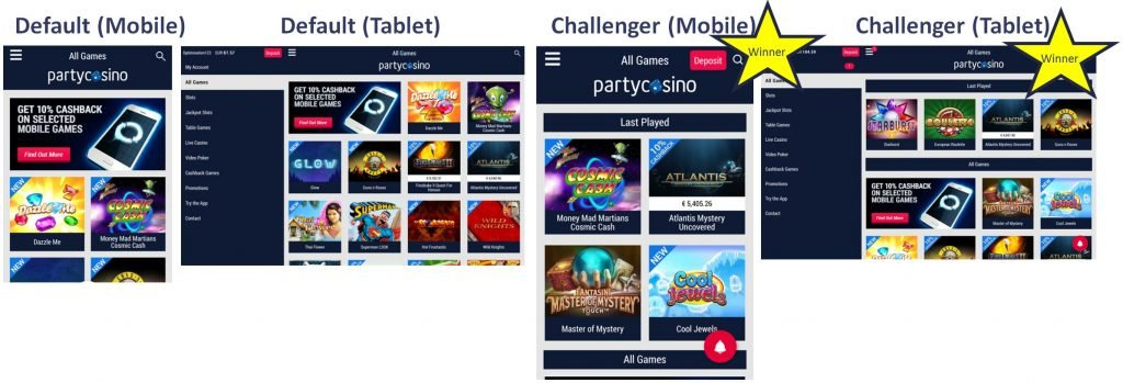 Image of Last played game A/B test on partycasino.com mobile