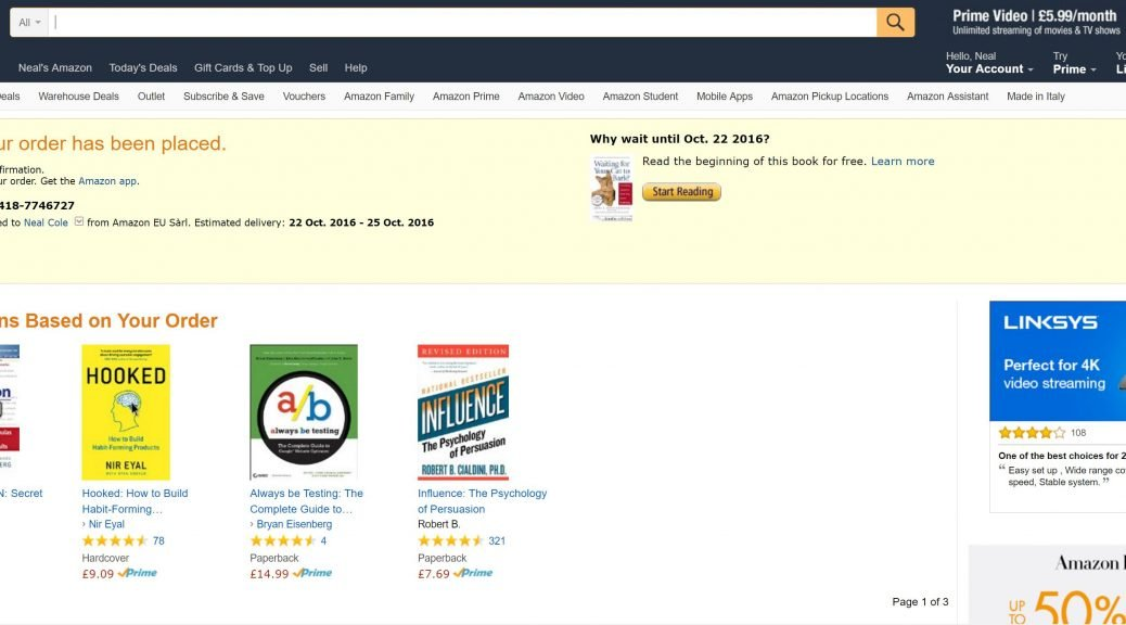 Image of order confirmation page from Amazon.co.uk