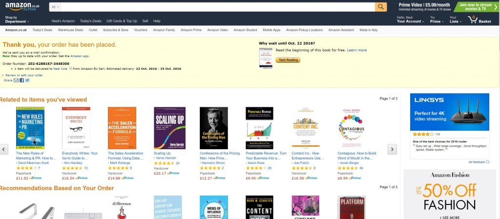 Image of confirmation page from Amazon.co.uk with related items and personalised recommendations