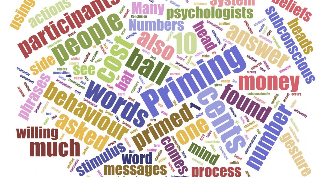 Priming is a continuous process as our brains sub-consciously process stimuli around us.