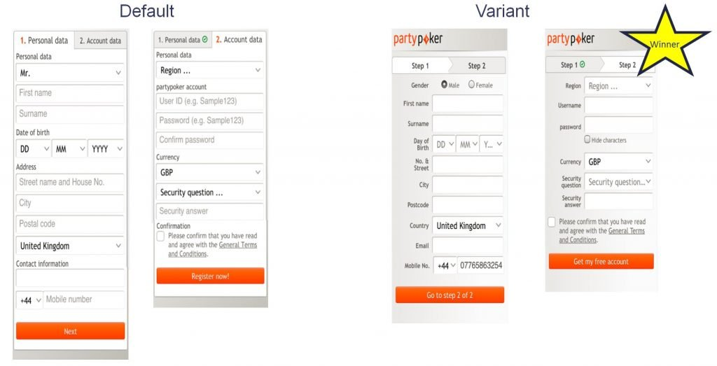 Image of split path test on partypoker.com mobile registration form