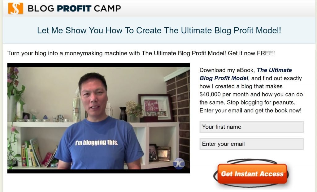 Image of simple sign up form on Blog Profit Camp site
