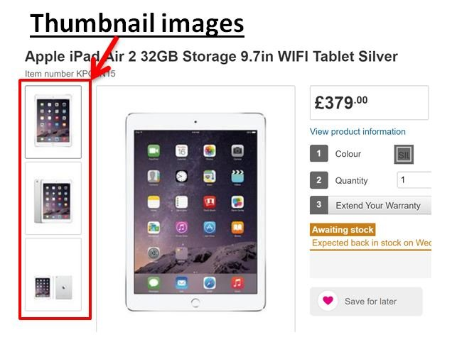 Image of product page from Very.co.uk with thumbnails