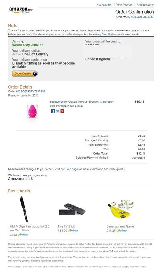 Image of transactional email from Amazon.co.uk