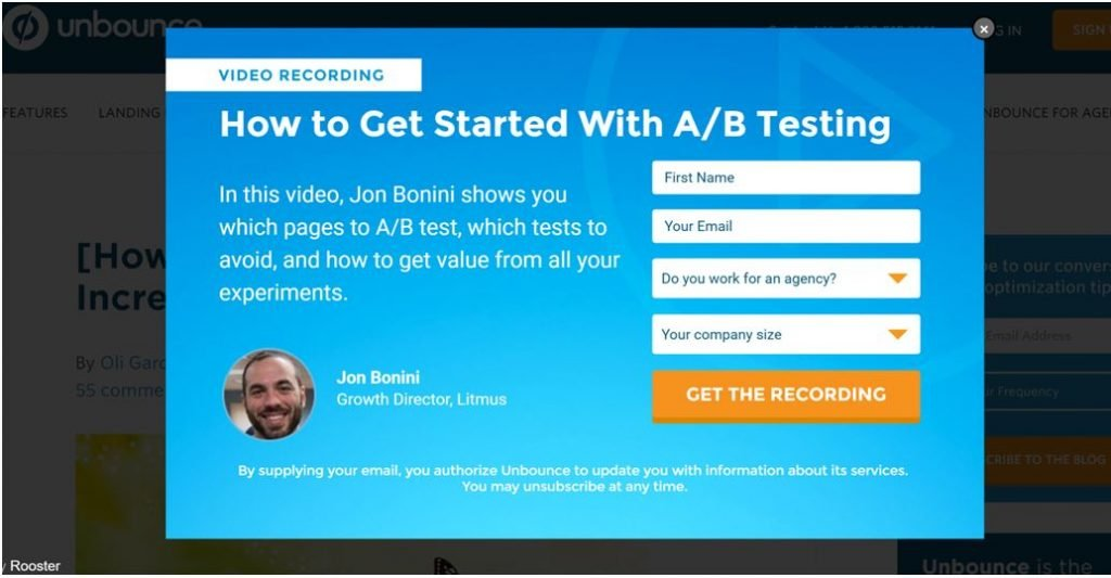 Image of example of Value Exchange from Unbounce.com