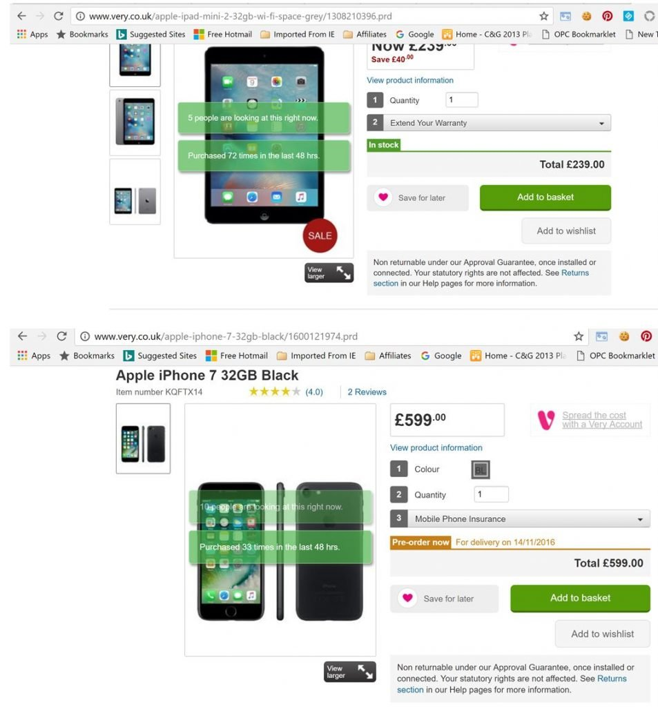 Image of Very.co.uk product page displaying social proof and scarcity indicators