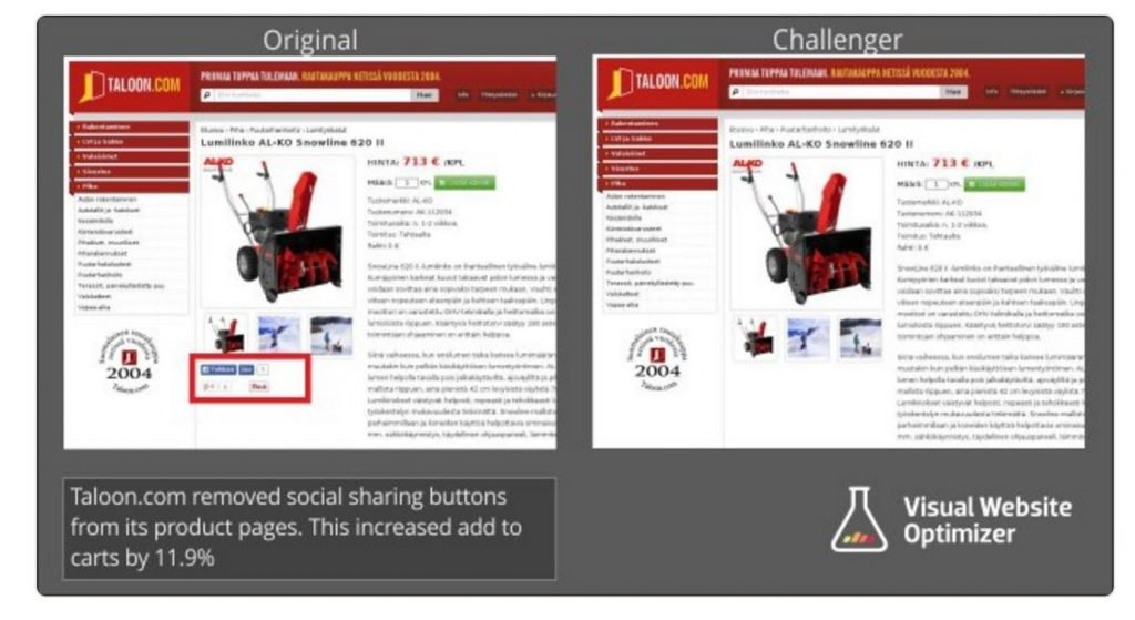 Image of A/B test from Taloon.com where social share buttons were removed