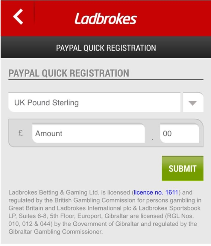 Image of submit call to action from Ladbrokes.com