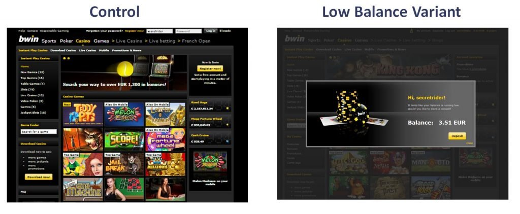 Image of A/B test on bwin.com casino homepage for balance deposit prompt