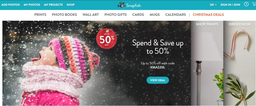 Image of auto-slider on Snapfish.co.uk homepage