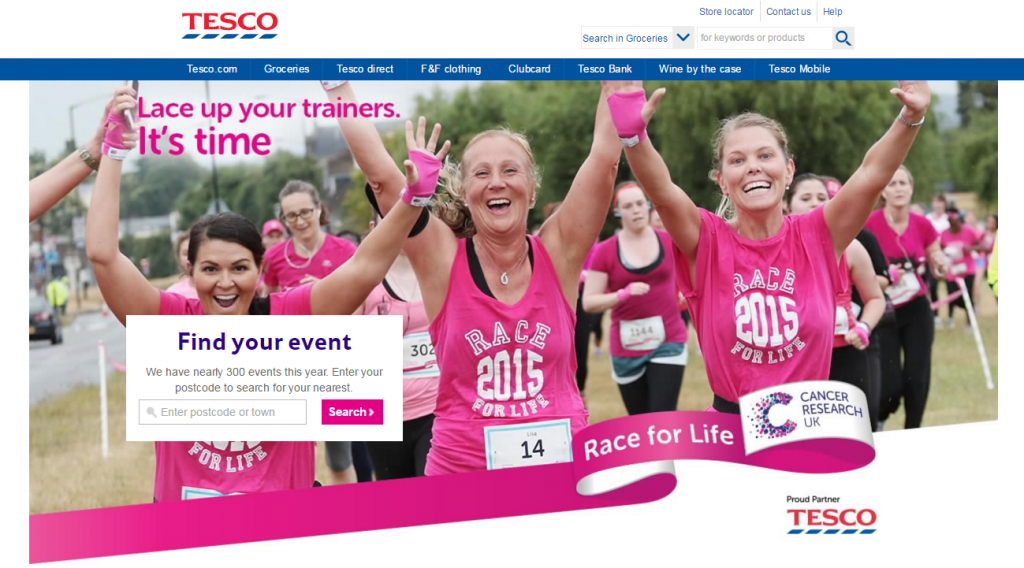 Image of Tesco cancer research race-for-life partnership