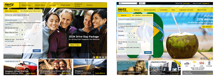 Image of Hertz.com homepage for Singapore and Chile