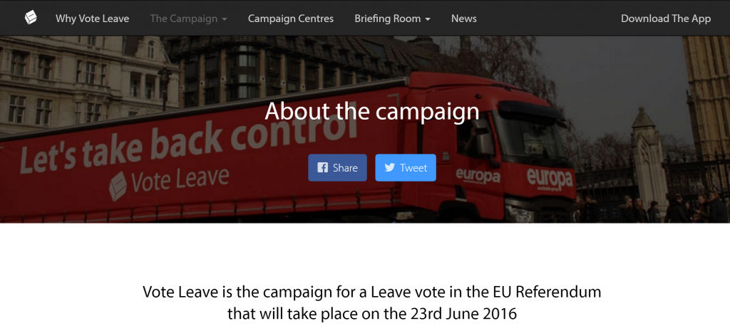 Image of the UK Leave campaign website