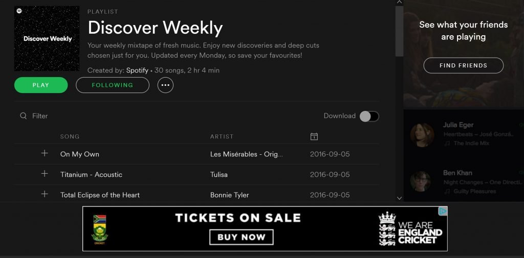 Image of Discover Weekly play list as an example of anticipatory design