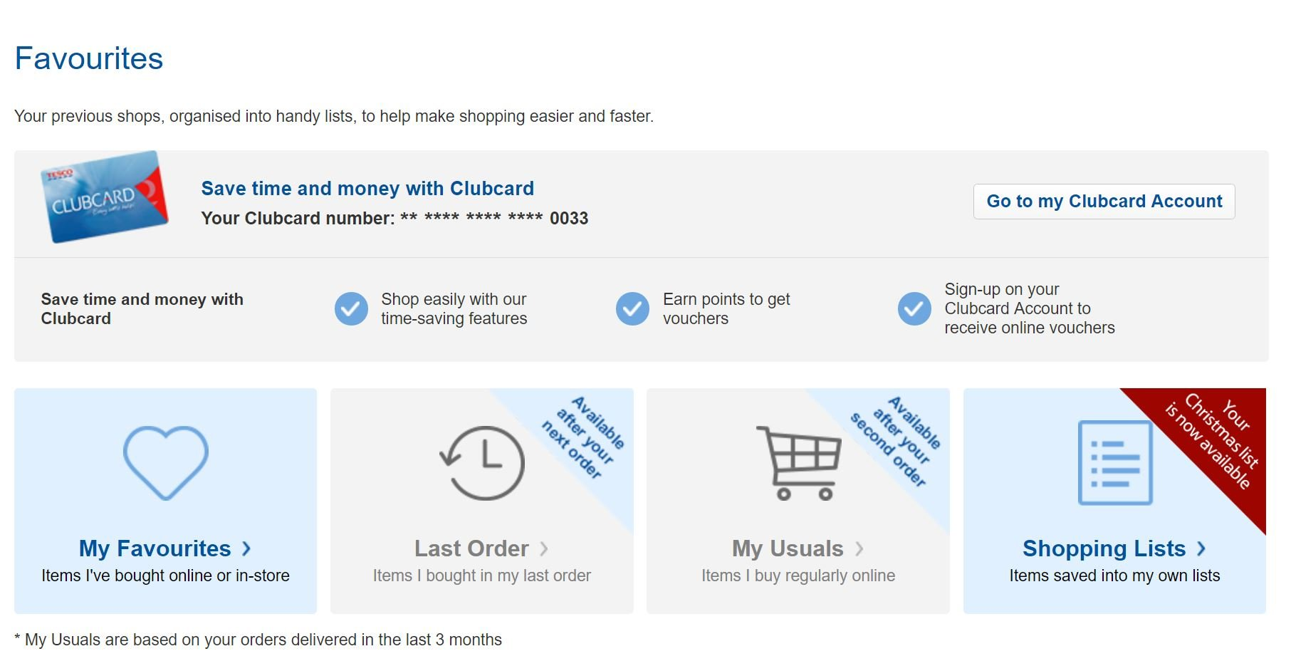 Image of anticipatory design on Tesco.com