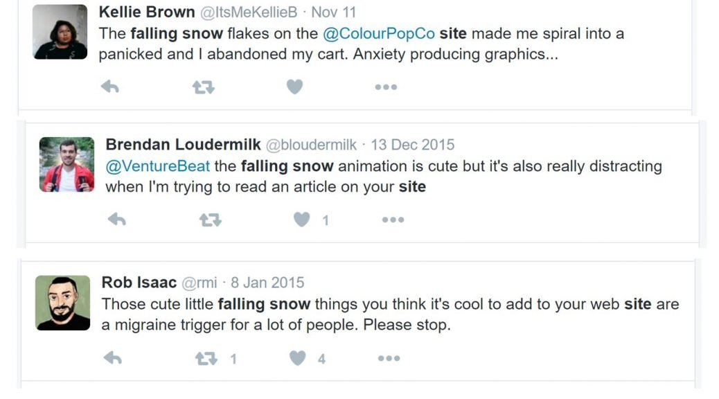 Image of Tweets complaining about falling snow on websites