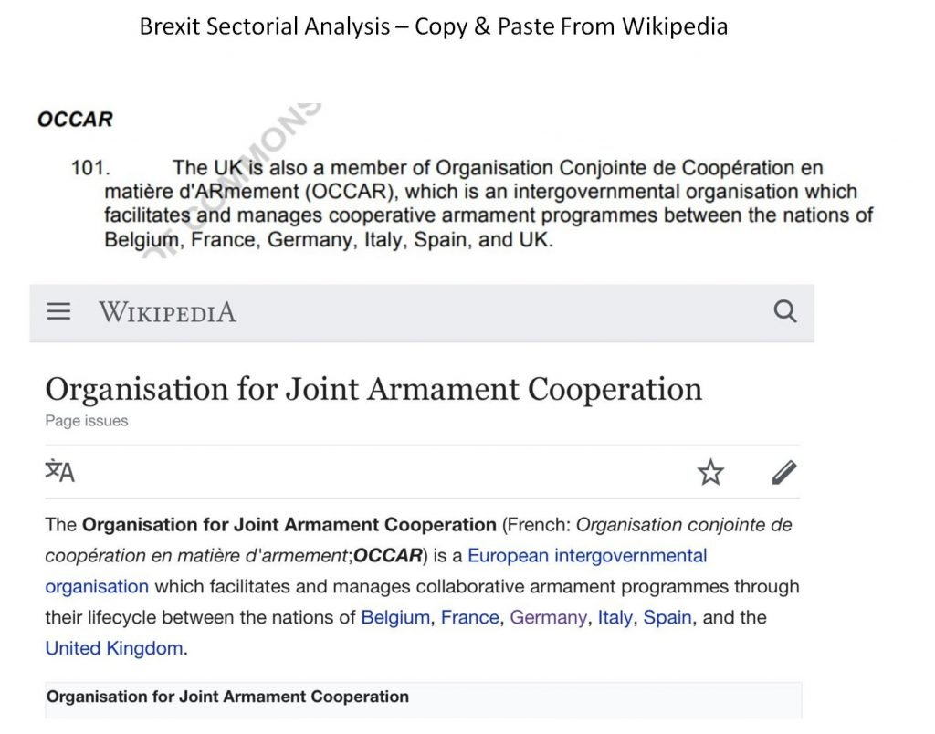Example of how Brexit sectoral analysis is a copy and paste from Wikipedia