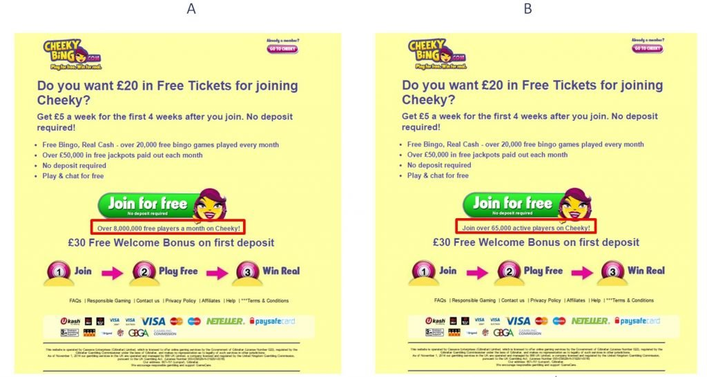 Example of A/B testing customer numbers for social proof