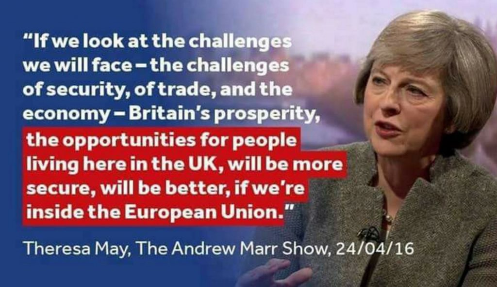 Theresa May explaining why UK should remain in the EU on Andrew Marr show. Stop Brexit.