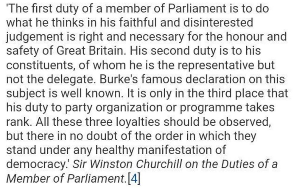 Image of what Winston Churchill said about the role of a MP